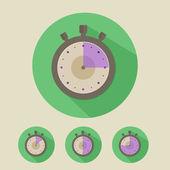 Stopwatch Flat Icon Design Set — Wektor stockowy