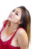Asian American Woman Red Top Necklace Cleavage — Stock Photo