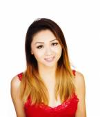 Asian American Woman Red Top Uncertain Expression — Foto Stock