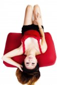 Attractive Asian American Woman Red Top Reclining — Foto de Stock