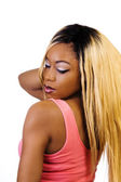 African American Woman Standing Blond Wig Back — Stock Photo