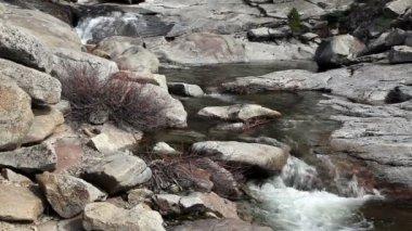 High Mountain Stream Among Rocks Yosemite Chilnualna Trail — Stockvideo