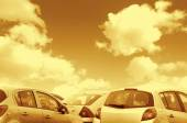 Parked cars toned brown — Foto de Stock