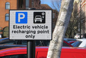 Electric Vehicle Recharging Point sign — Stock Photo