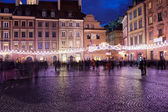 Old Town Market Place at Night in Warsaw — Stock Photo