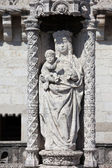 Statue of St. Mary and Child at Belem tower in Portugal — Stock Photo