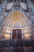 Gothic Portal to the Barcelona Cathedral — Stock Photo