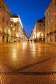 Rua Augusta Street at night in Lisbon — Stock Photo