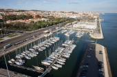 Doca de Belem Marina and Lisbon Cityscape — Stok fotoğraf