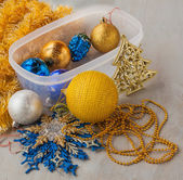 Christmas baubles and decorations — Stock Photo