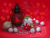 Lantern with New Year's toys — Stockfoto