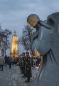 Commemorative event at memorial of Holodomor — Stock Photo