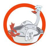 Happy Christmas goose in chef's hat — Stock Vector