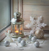 Candlestick star and knitted Christmas angel — 图库照片