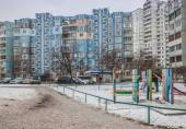 Yard in winter in Kiev — Stok fotoğraf