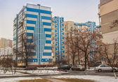 Yard in winter in Kiev — Stock Photo