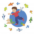 A child plays in the pilot — Stock Vector #61022567