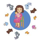 женские колыбели куклы и другие игрушки — Cтоковый вектор