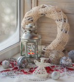Decoration a window to the first Advent — Stock Photo