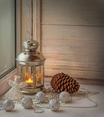 Decoration a window to the first Advent — Stockfoto