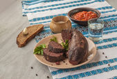 Ring pudding sausages  with glass of vodka — Foto Stock