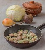 "Cooking traditional Ukrainian beet soup ""borsch"" — Stock Photo"