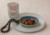 Ramadan lamp and dates still life — Stock Photo