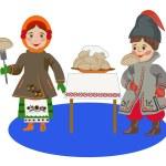 Children in Ukrainian costumes eating dumplings — Stock Vector #65527437