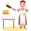 Постер, плакат: Ukrainian bakes pancakes on Shrove Tuesday