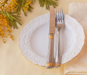 Spring festive dining table — Stock Photo