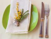 Spring festive table setting — Stock Photo