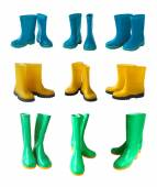 Yellow, blue and green gumboots — Stock Photo