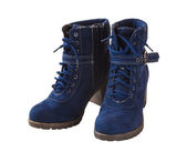 Blue female suede boot — Stock Photo