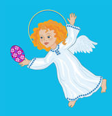 Joyous Angel with Easter egg — Stock Vector