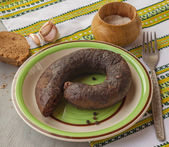 Ring pudding sausages and bread — Stock Photo
