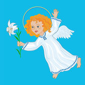 Angel with white lily — Stock Vector