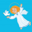Angel and white dove on hand — Stock Vector #70741675