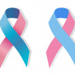 Two Pink and blue ribbons — Stock Vector #70741725