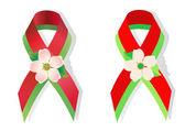 Red and green ribbon and apple flower — Stock Vector