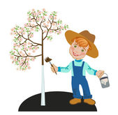 Boy gardener works in a garden — Stock Vector