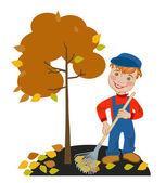 Boy gardener raking leaves — Stock Vector