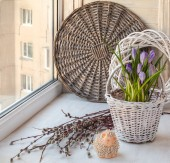 Spring still life with easter lamb — Stock Photo