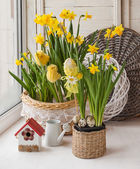 Easter decoration on the window — Stock Photo