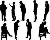People silhouettes with phone — Vector de stock