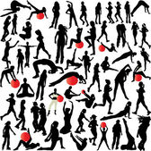 Women recreation(plates- yoga-aerobic-running) — Stock Vector