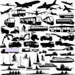 Transportation silhouettes collection — Stock Vector #64740001