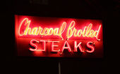 Charcoal Broiled Steaks Sign — Stock Photo