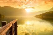 Sunset on the lake Bohinj — Stock Photo