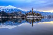 Bled with lake in winter, Slovenia, Europe — Stock Photo
