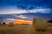 End of day over field with hay bale — Stock Photo